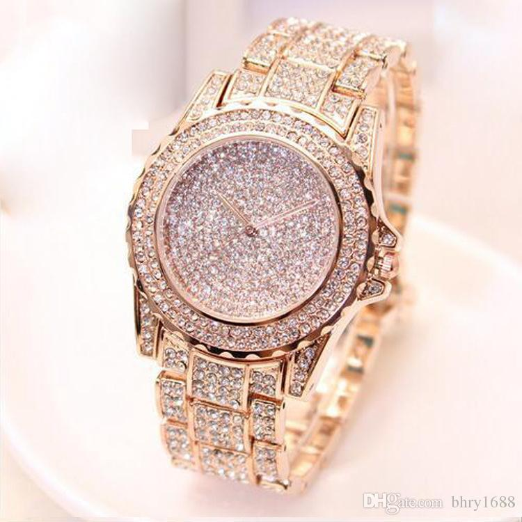 b167dfded New Luxury Watches For Women Ladies Fashion Diamond Watch Crystal  Wristwatch Gold Watches Steel Band Quartz Dress Watch Online Watch Sales  Buy Watch Online ...