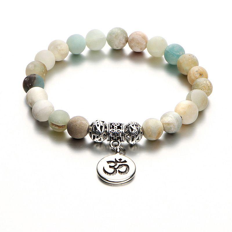 Mode Naturstein Perlenarmband Charme Yoga Meditation OM Strand Kette Vintage Silber Buddha Braclet Unisex Ethnische Schmuck