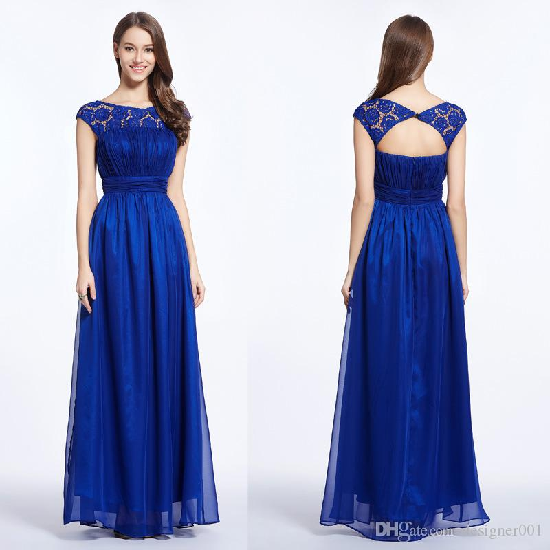 2019 New In Stock Real Pleated Cap Sleeve Cheap Evening Dresses with Keyhole Back Chiffon A-line Sexy Pleated Formal Prom Party Gown