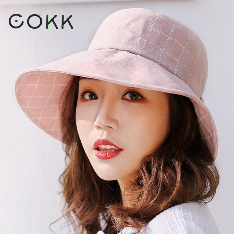 COKK Spring Summer Hats For Women Bucket Hat Plaid Pattern Big Bow  Fisherman Hat Female Fishing Cap Flat Bone Sunscreen New Crazy Hats Fishing  Hat From ... 266b01110a