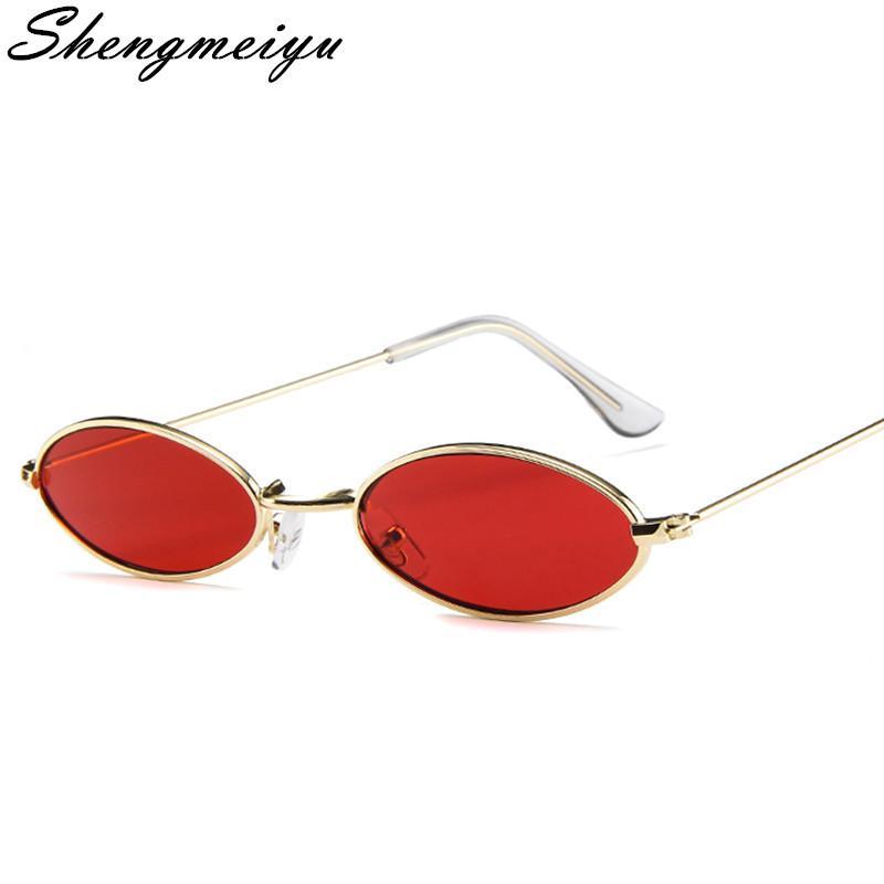 53f7d62fbf1d1 Compre Pequeno Oval Óculos De Sol Para Homens Masculino Retro Metal Frame  Amarelo Vermelho Do Vintage Pequeno Rodada Óculos De Sol Para As Mulheres  2018 De ...