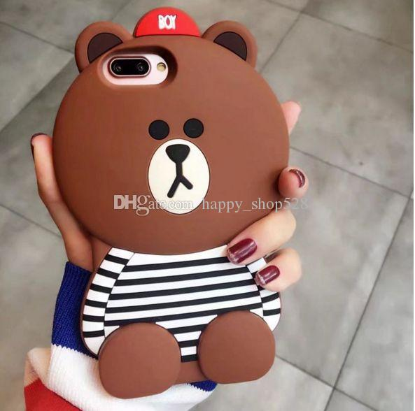 3D cowboy bear case Cartoon animals Cute Toy 3D stripe brown bear silicone case For iphone x 6 6plus 7 7plus Cell phone case
