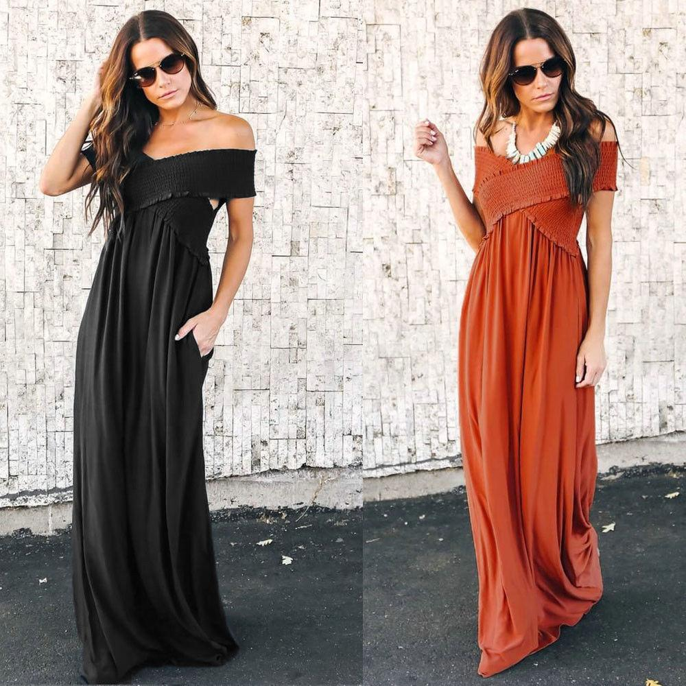fc62830ac2 Women Dress Off Shoulder Summer Boho Long Maxi Dress Evening Party Beach  Dress Sundress Short Sleeve Vestido Couture Dresses Designer Evening Gowns  From ...