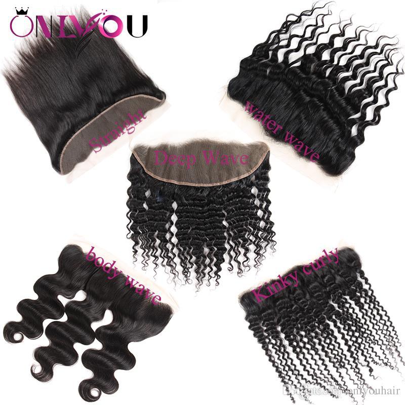 Las extensiones de cabello de la Virgen India cruda Remy El cabello humano teje el cierre Top Lace Frontal Closure Straight Deep Kinky Curly Deals para mujeres negras