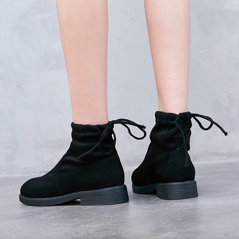 2b87e6c687801 Women Boots 2018 Autumn Women Ankle Boots Low Heel Fashion Stretch ...