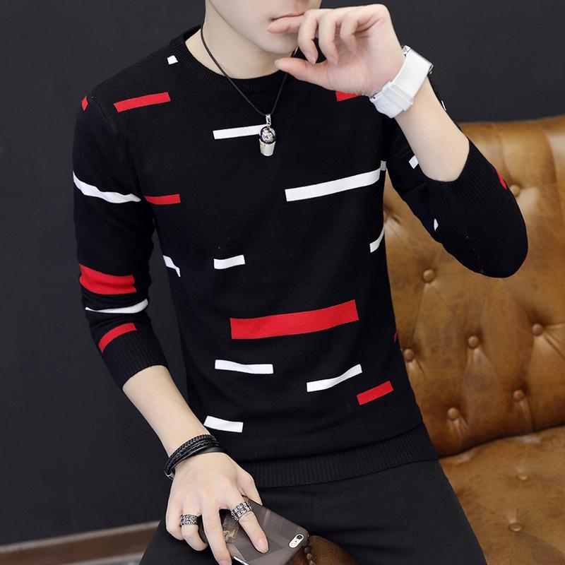 2018 новый круглый шеи свитера мужчины тонкий полосатый свитер молодежи hedge рендер без подкладки верхняя одежда культивировать свою мораль