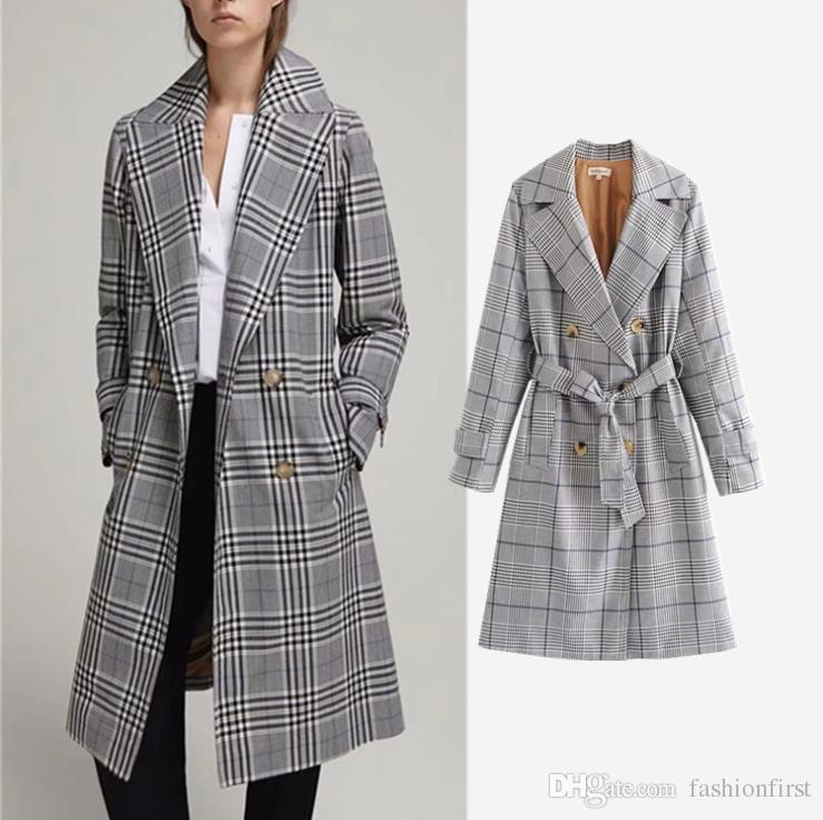 05c849bc48 2019 Winter 2018 New Style Fashion Trench Coat Long Womens Plaid Trench  Coat Long Sleeve Double Button Trenchcoats Trench Outwear With Belted From  ...