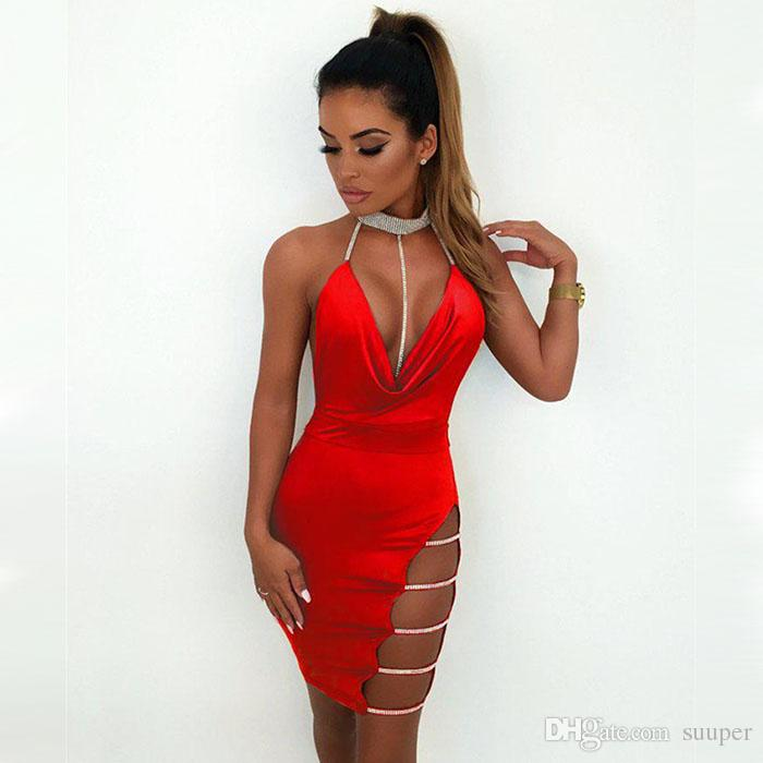 5e8cc65d7f6 2019 Sexy Women Bandage Bodycon Choker Deep V Neck Sleeveless Dress Ladies  Clubwear Party Evening Short Mini Dress Summer From Suuper, $32.7 |  DHgate.Com
