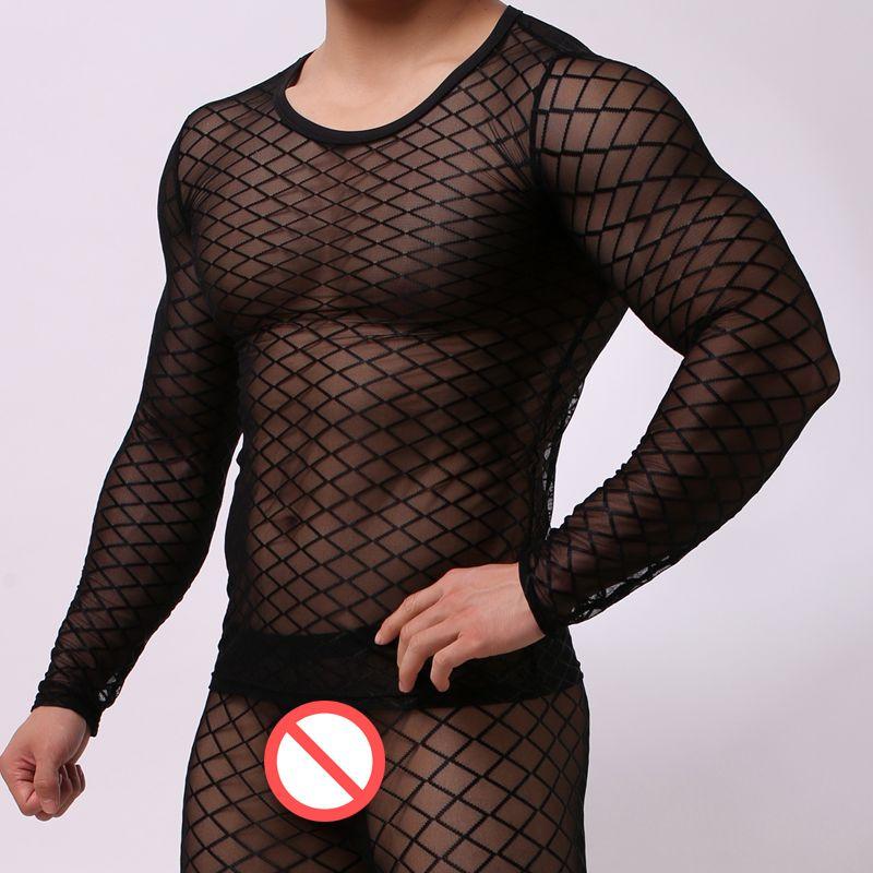 Sexy Camiseta para hombre Malla ultrafina Blanco Camiseta negra Tops Hombre manga larga O-cuello camiseta Gay transparente Ver a través de ropa interior