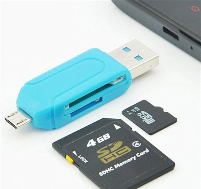 SR 2 en 1 lector de tarjetas USB OTG Micro USB OTG TF / lector de tarjetas SD Lector de extensiones de teléfono Adaptador Micro USB OTG