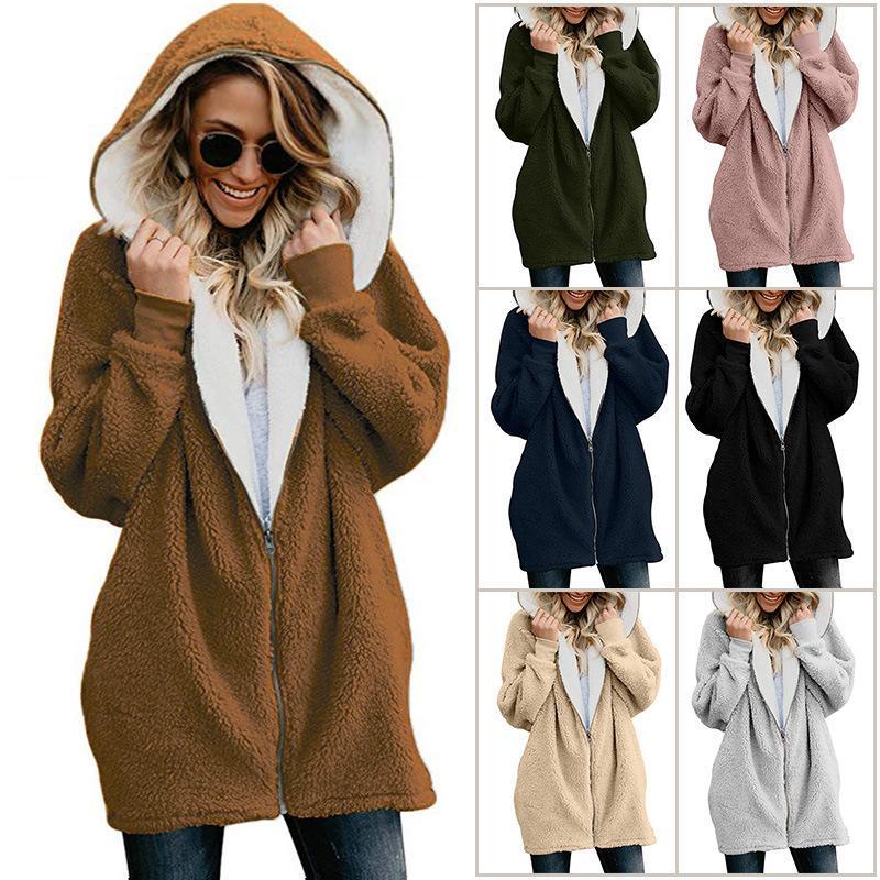 74d674a17f 2019 Plus Size Women Sherpa Jacket Hooded Coat Winter Fleece Outwear Hoodie  Long Sleeve Zipper Cardigan Coats Casual Warm Sweatshirt Jackets 5XL From  ...