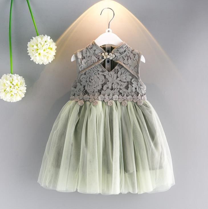 5052b14847c14 2018 New Retail Summer New Girl Lace Dress Gauze Princess Vest Dress Girl  Party Sundress Layered Dress Children Clothing