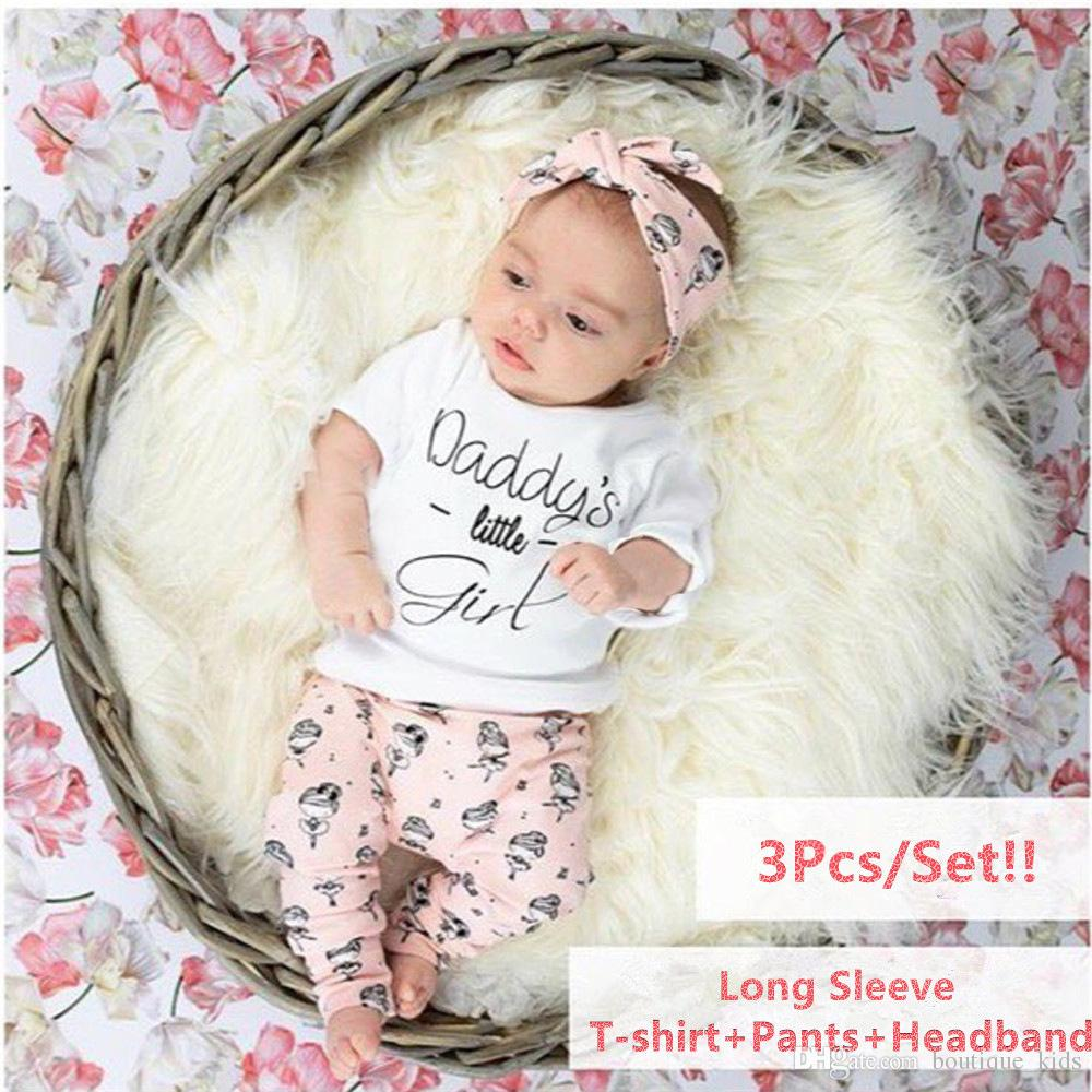 c936e809de902 Infant Clothing Set Newborn Baby Girls Clothes Short Sleeve Letter Daddy's Little  Girl T-shirt + Pants + Headband 3PCS Toddler Girls Outfits