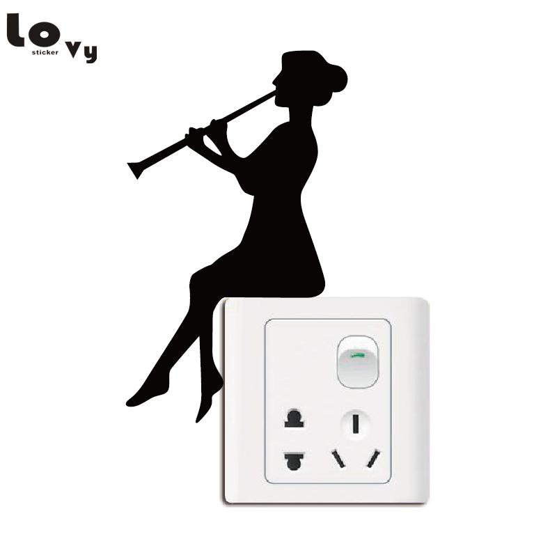 Girl Playing Clarinet Light Switch Sticker Classical Music Wall - Vinyl-decals-to-decorate-light-switches-and-outlets