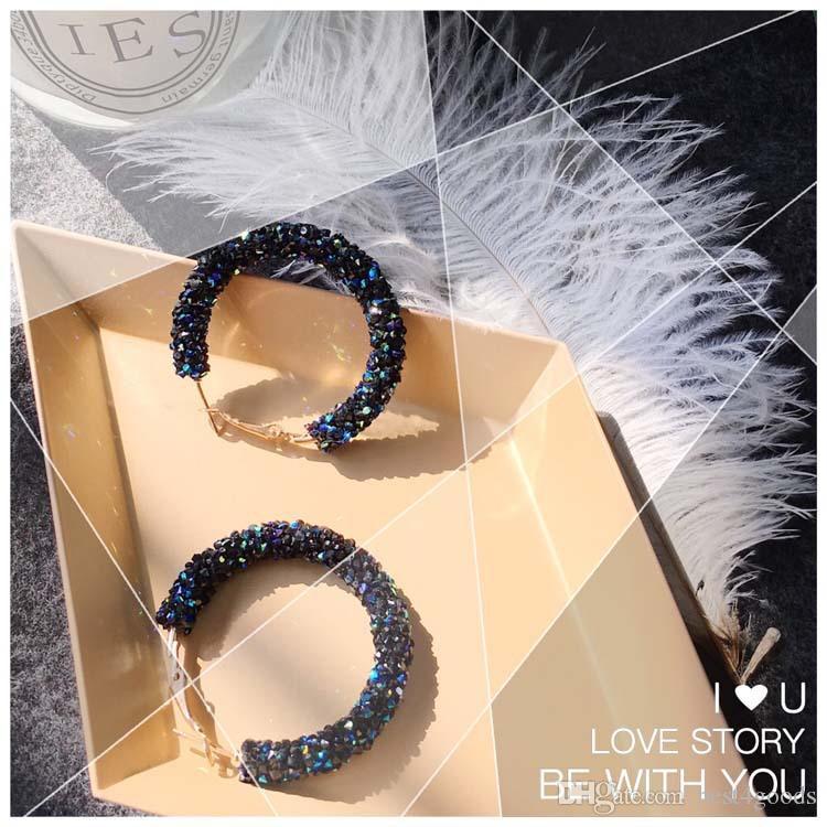 Elegant New Design Fashion Charm Austrian Crystal Hoop Earrings Geometric Round Shiny Rhinestone Big Earring Jewelry Women