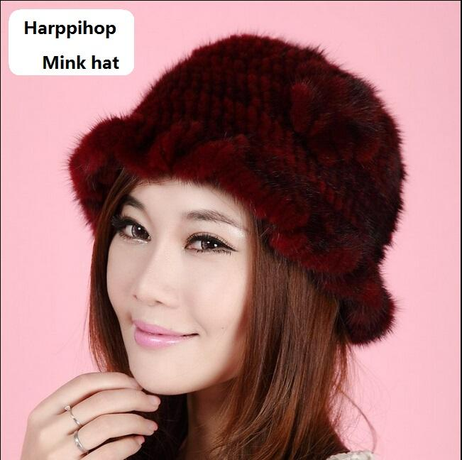 2017 New Hand Made Queen Style 100% Real Knitted Bucket Hat Women s Winter  Fur Hat And Cap Church Hats Vintage Hats From Rainbowwo e59c24d9df43