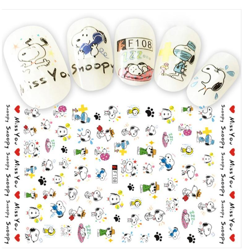 1 Sheets 3D Cartoon Designs Templates Nails Sticker Lovely Dog DIY  Ultra-thin Decals Nail Art Decorations F108
