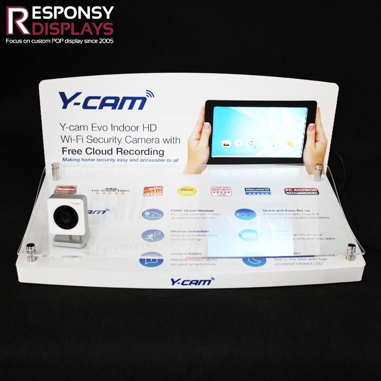 CCTV Security Surveillance Camera Counter Display Stand with Video Player