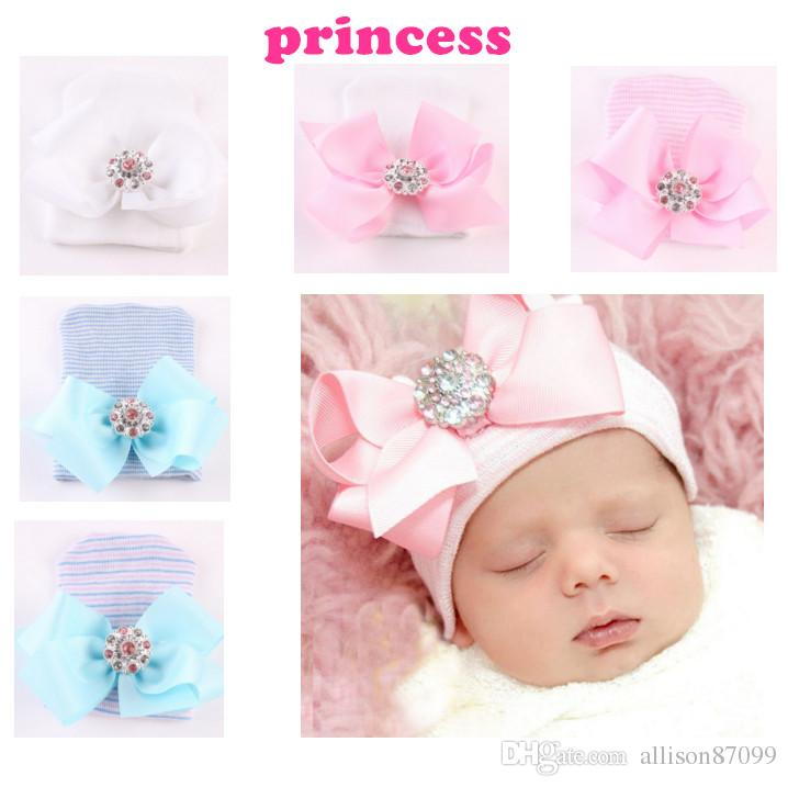 2019 Cheap Wholesale Infant Newborn Hat Hair Bow Princess Dimond Soft Knit Hats  Baby Beanies 0 3month Boutique Accessories 2018 Pink Blue From  Allison87099 0af9d14fc7a