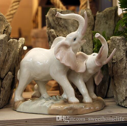 Charming Elephant Garden Handicraft Porcelain Animal Figurine Mother And Child Elephant  Ceramic Home Decor Craft Room Wedding Decoration Elephant Garden Handicraft  ...