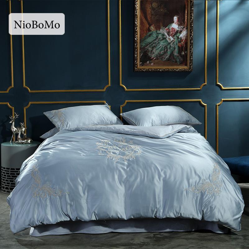 Niobomo Luxury Embroidery Gray Silk Bedding Set Bedroom Home ...
