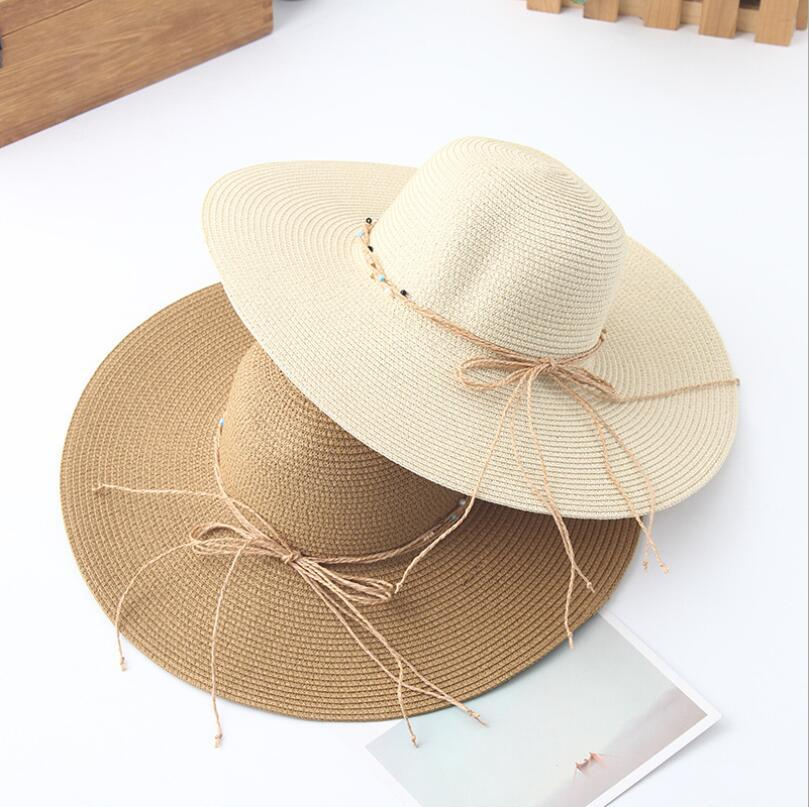 3b8aa9d253b9fd 2018 New Brand Wide Brim Floppy Straw Sun Hat Beach Women Hat Foldable  Summer UV Protect Travel Cap Ladies Casual Cap Female Bucket Hats For Men Womens  Hats ...