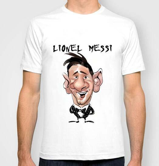2f68df108 The Fc Barca Star Lionel Messi Caricature Cartoon T Shirt Men S For 2016  New Fashion O Neck Short Sleeve Tees Shirts White T Shirt Designs Awesome T  Shirt ...