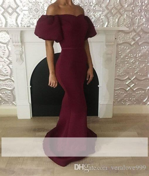 Elegant Maroon Mermaid Prom Dresses Short Puffy Sleeves Formal Dresses Off the Shoulder Sexy Evening Dresses Party Wear