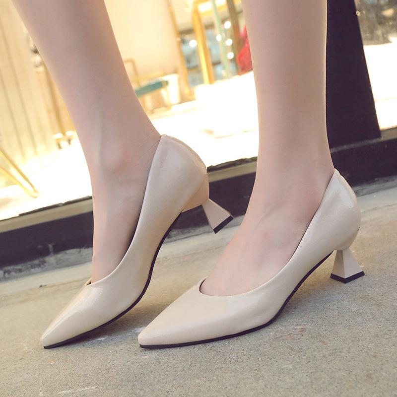 f73523a4b86 Chunky Heels Thin Shoes Ladies Pumps 2018 Pums Womens Buckle Strap High Low  Bow Designer Winter Fashion Woman High Heel Shoes Mens Casual Shoes From ...