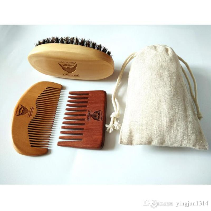 100% Boar Bristle Beard Brush&Red Handmade Wide Tooth Comb For Men Bear Care Gift Mustache/Hair Brush