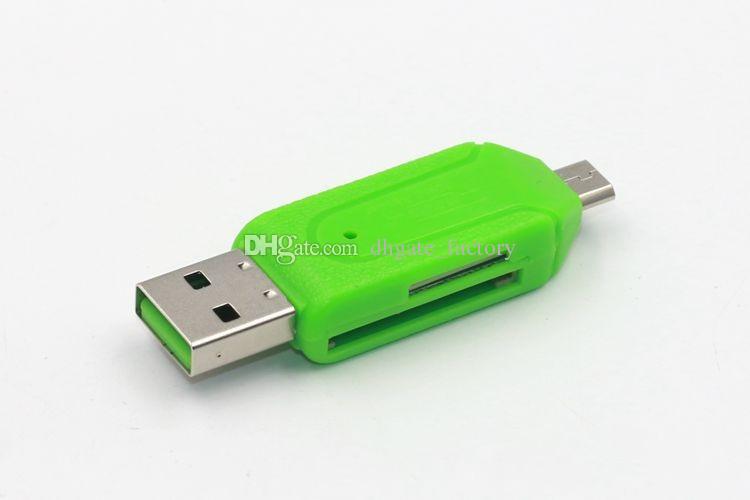 Adaptador OTG con lector de tarjetas de memoria TF / SD de 32GB con paquete para tableta de teléfono inteligente Android macho a micro USB 2.0 de doble ranura de transmisión rápida