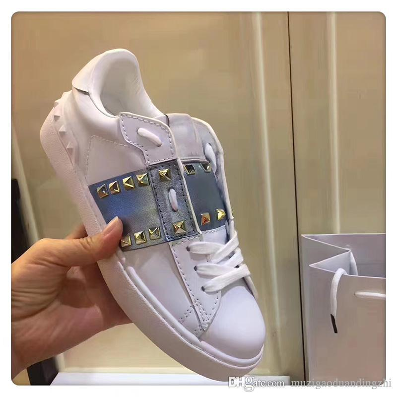 2018 up to date Hot Sell Name Brand Sneaker Casual Woman Fashion Rivets High Top women Dress Party Cheap Sneakers With Box