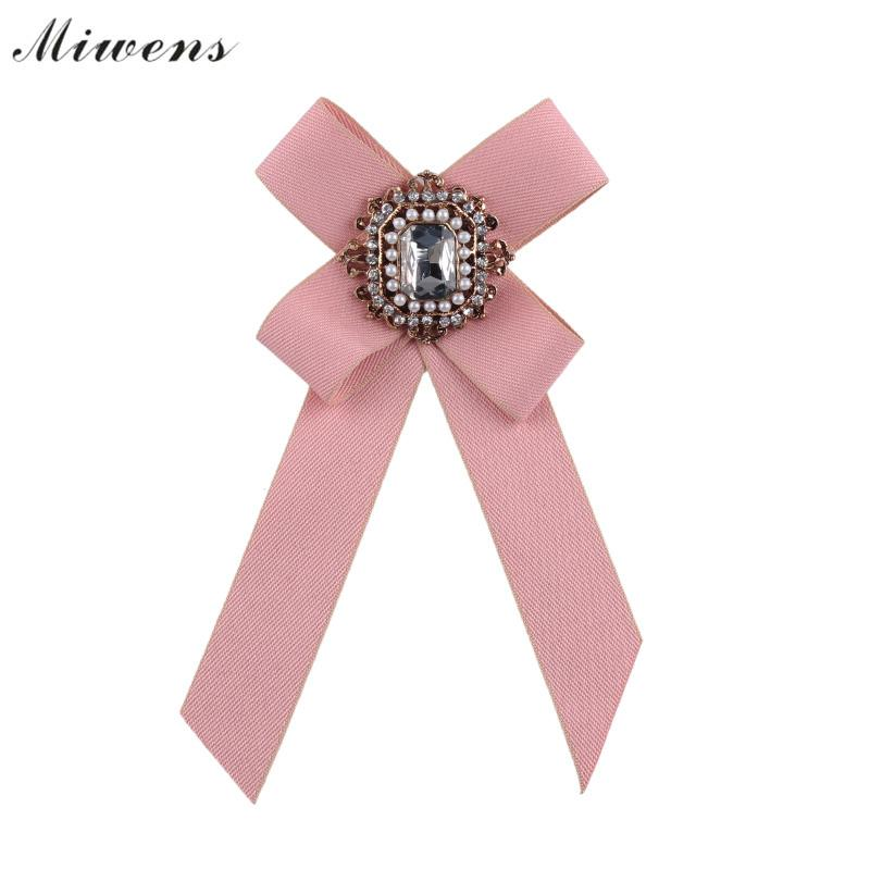 Miwens Women's Brooches Pin Long Ribbon Big Bowknot Shirt Bow Tie Pins Collar Dress Accessories Fashion Jewelry