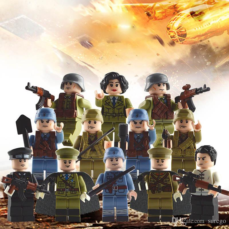 12pcs WW2 Chinese VS Japanese Sino-Japanese War Female Mini Army Soldier  Color Weapons Building Block Toy Figure