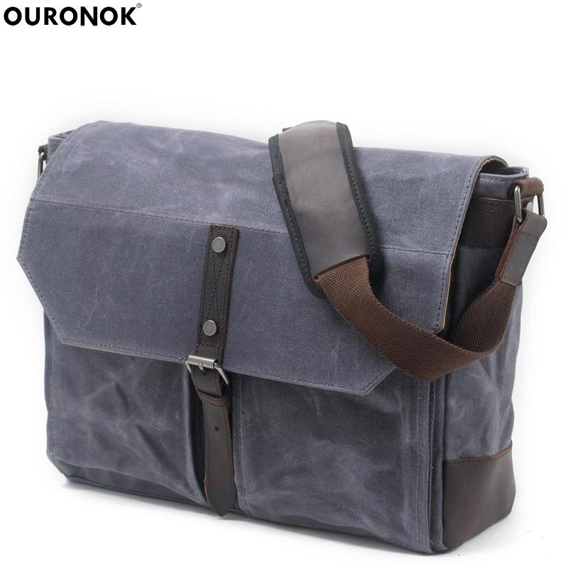 OURONOK Unisex Shoulder Bags Canvas Men s Crossbody Bag Casual ... 51ef7968ea750