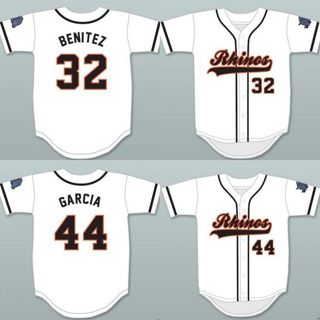 new concept dd5c1 31cd9 Raffy Benitez 32 Rhinos White Baseball Jersey Garcia 44 Rhinos Baseball  Jersey Men Women Youth Baseball Jerseys