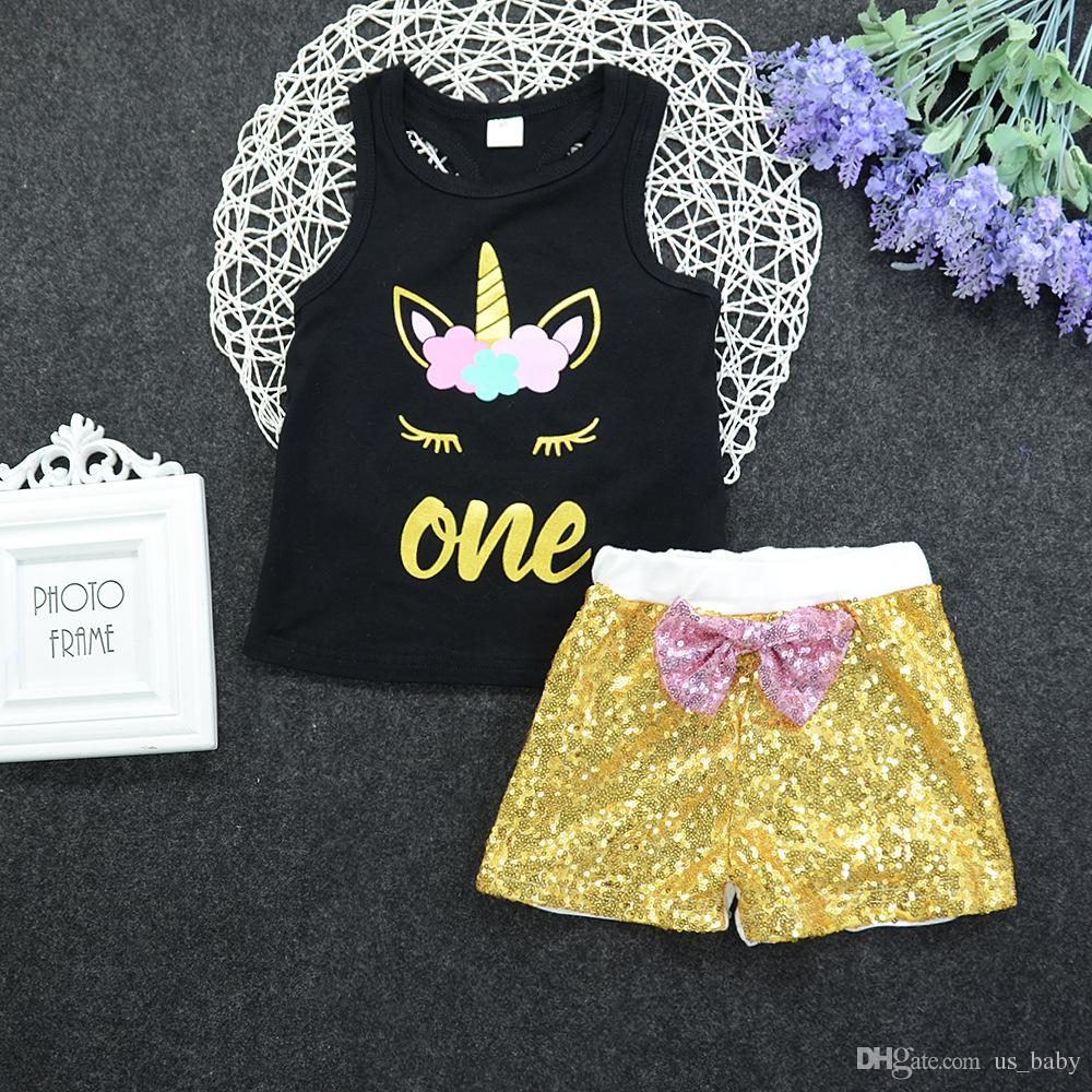 Girls Summer Outfits Children Unicorn Letter Printed Set Vest + Sequin shorts with Bow 5size