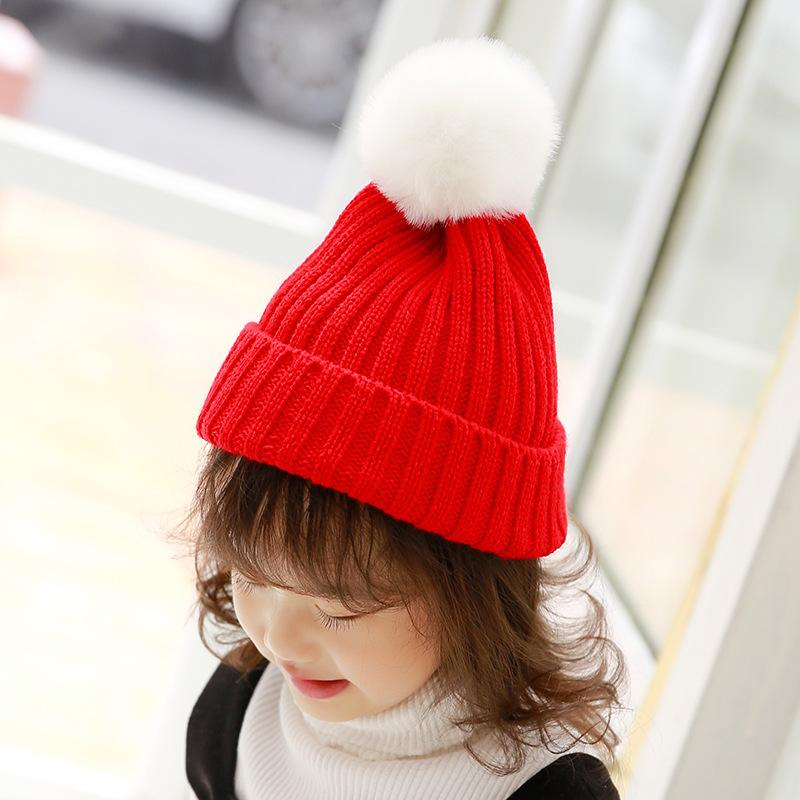 4b8a9996a4b 2019 Mingjiebihuo Children S Knit Hat With Ball Candy Color Wool Cap Men  And Women Baby Cute Head Cap Autumn And Winter Warm Hat From Newhappyness