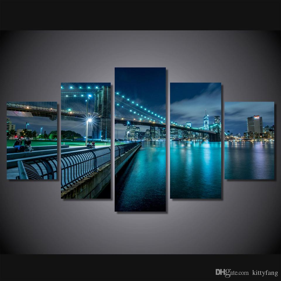 Framed HD Printed new york city bridge Still Life Canvas Painting Wall Art Picture Home Decor For Linving Room