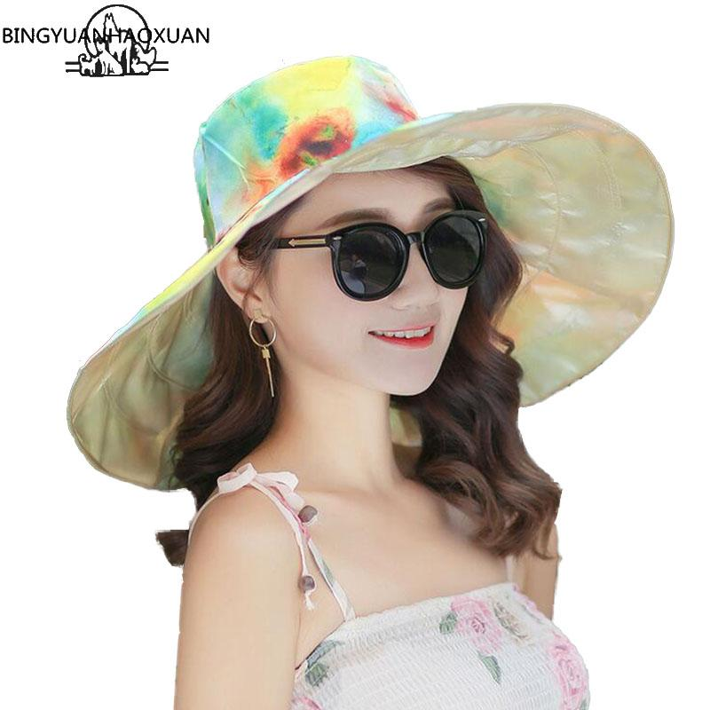 BINGYUANHAOXUAN Brand2018 New Fashion Design Flower Foldable Sun Wide Edges  Hat Summer Hats For Women UV Protection Big Cool Hat Rain Hat Hats In The  Belfry ... 4ea16aed0e6a