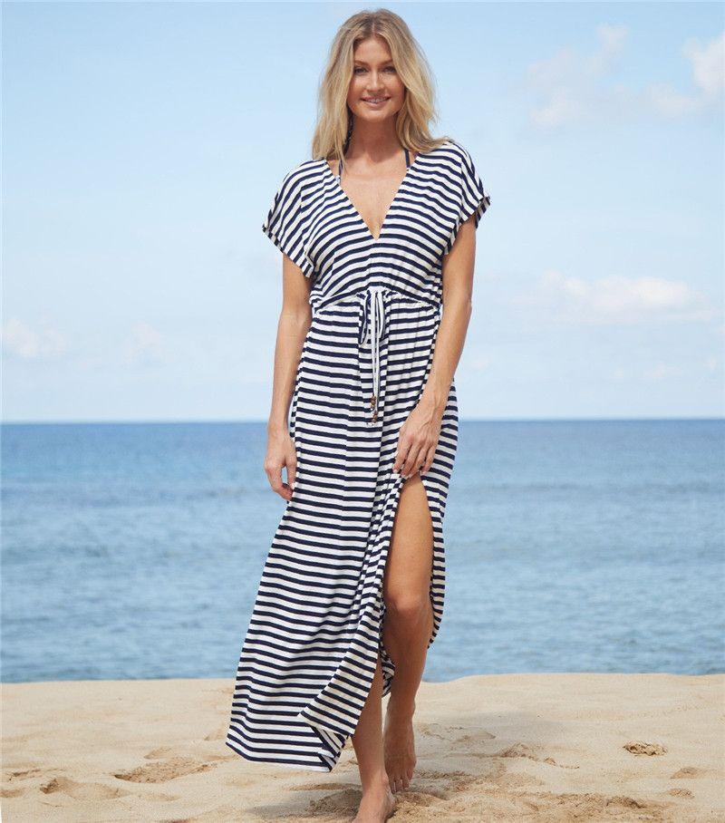4e07ff36ee032 2018 N Striped Cover Up Sexy Pareo Swimwear Women Bathing Suit Cover Ups  Kaftan Beach Dress Tunic Beachwear Sarong UK 2019 From Ukdownload