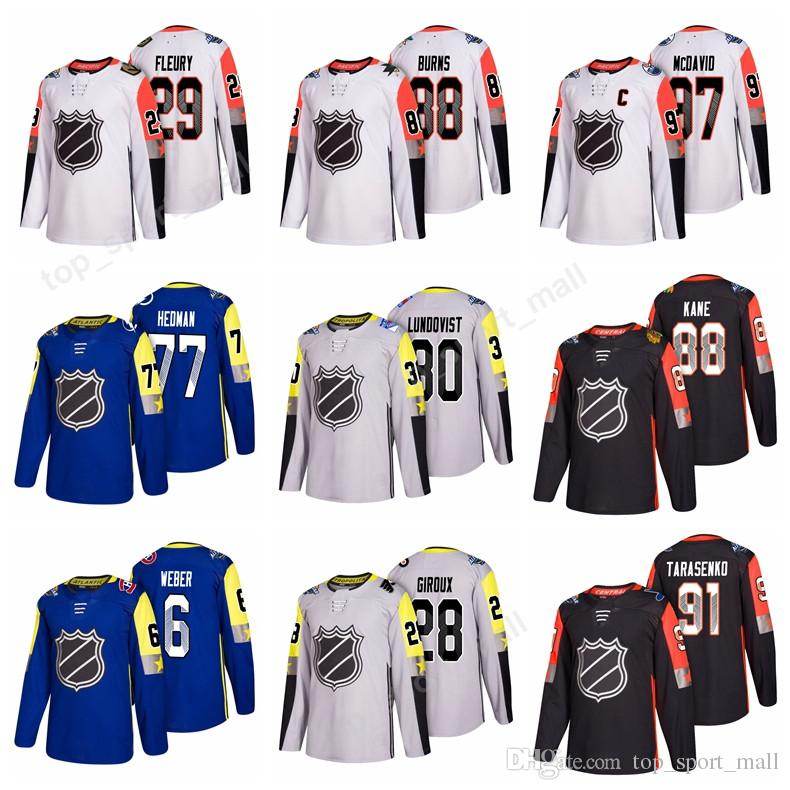 Game 31 Carey Price All Star 2018 All Star Ice Hockey Jerseys 86 Nikita  Kucherov 30 Henrik Lundqvist 87 Sidney Crosby James Neal Brent Burns UK  2019 From ... 80f44d5bb