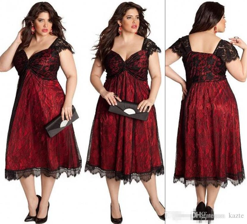 Moda Artı Boyutu Dantel Abiye giyim Çay Boyu Sevgiliye Kapaklı Kollu Kokteyl Parti Gelinlik Anne Elbise Özel Durum