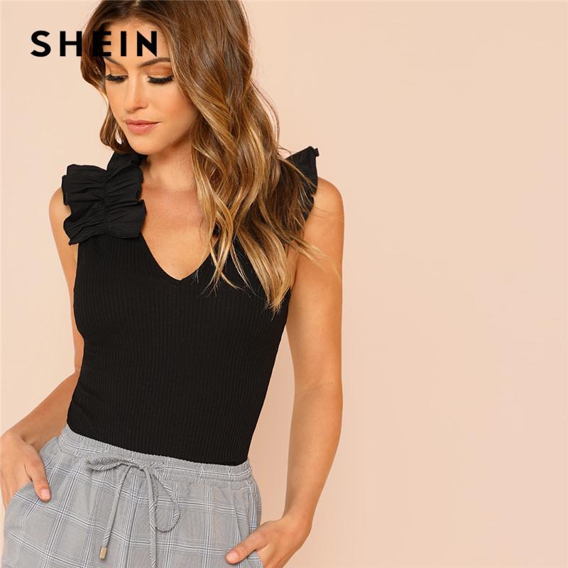 d047988d82 SHEIN Black EleSexy Ruffle Trim Sleeveless Rib Knit V Neck Tee Summer Women  Weekend Casual T Shirt Top T Shirt Designs Cool Shirts From Vickay, ...