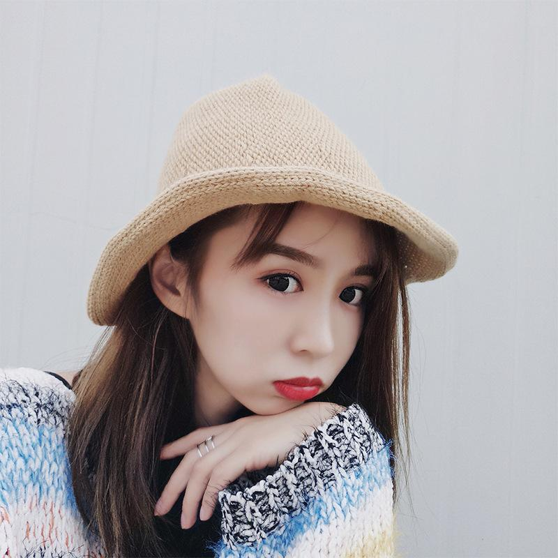 HT1442 2017 New Women Winter Hats Casual Solid Plain Bucket Cap Hats Elegant  Warm Knitted Cap Ladies Stylish Panama Wedding Hats Baby Hats From  Rainbowwo 82ff12ed1244