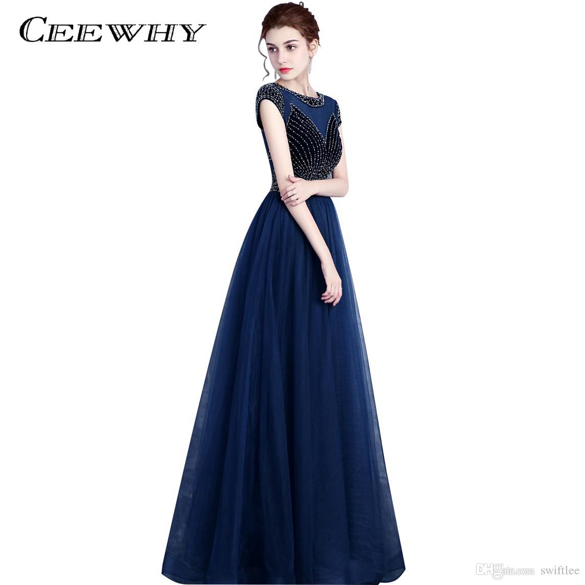 906c31d61 Vestidos Para A Noite CEEWHY Azul Marinho Longo Vestido De Noite Beading  Vestidos De Baile Vestidos De Festa Elegante Vestido De Noite Formal Vestido  De ...