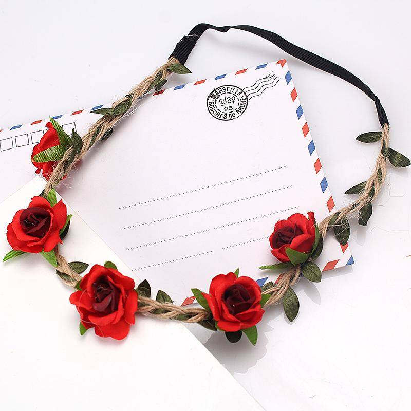 M MISM 2017 Boho Floral Headband For Women Hair Accessories New Wreath Headbands Kids Girls Rose Flowers Hair Bands Garland