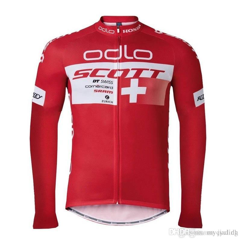 2018 Pro Team Scott Long Sleeve Cycling Jersey Mtb Bicycle Tops ... 47b540a27