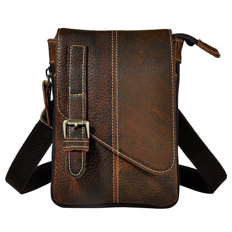 e38056282413 Simline Vintage 100% Genuine Crazy Horse Leather Cowhide Men Small  Messenger Shoulder Crossbody Bag Waist Bag Pack Bags For Man Designer Bags  Wallets For ...