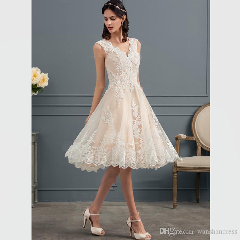 Discount Champagne Satin Short Wedding Dresses 2018 New